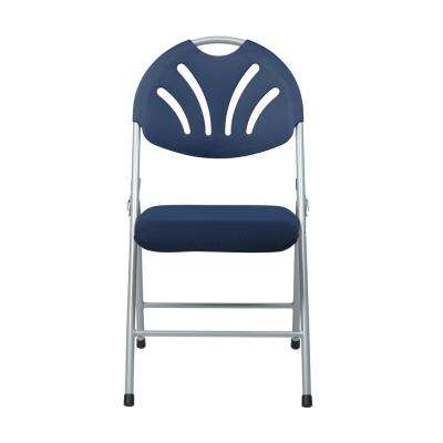 Blue Plastic Folding Chair with Fan and Back/Fabric Seat with Silver Frame (4-Pack)