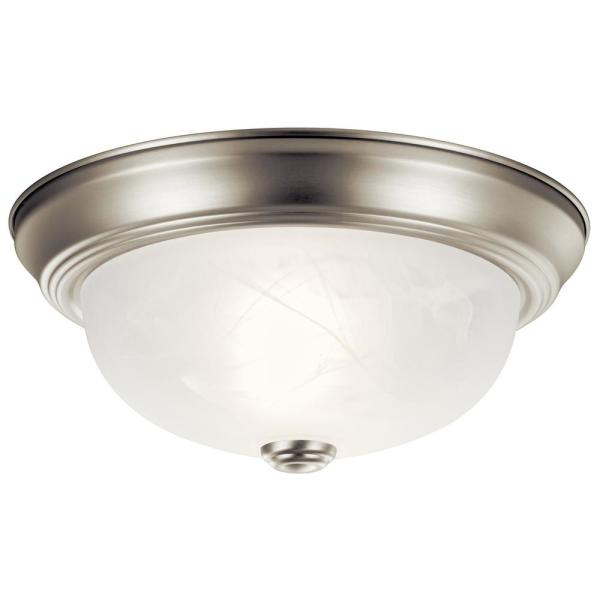Independence 11.25 in. 2-Light Brushed Nickel Flush Mount Ceiling Light with Alabaster Swirl Glass