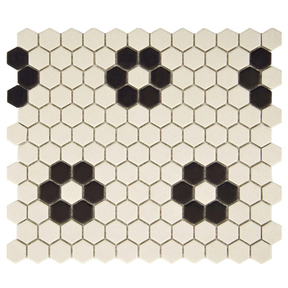 Merola Tile Gotham Hex Antique White with Heavy Flower 10-1/4 in. x 12 in. x 5 mm Unglazed Porcelain Mosaic Tile (8.54 sq. ft./case)