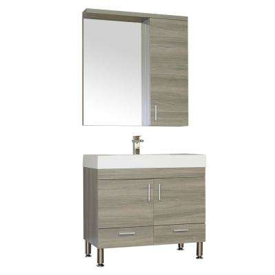 Ripley 35.37 in. W x 18.75 in. D x 33.38 in. H Vanity in Gray with Acrylic Vanity Top in White with White Basin