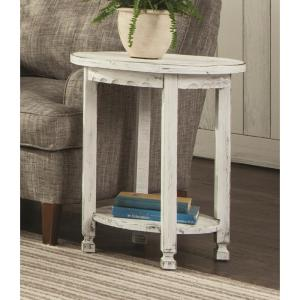Alaterre Furniture Country Cottage White Antique Round End Table