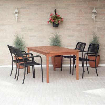 Wade 5-Piece Wood Oval Outdoor Dining Set