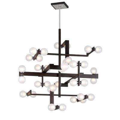 Network 36-Light Forest Bronze and Polished Chrome Pendant with Frosted Clear Glass Ball Shade