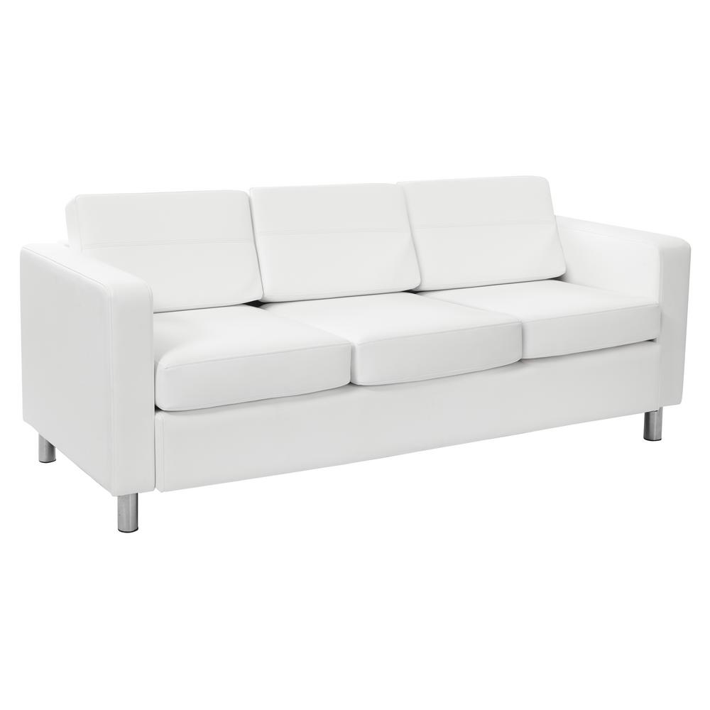 Osp Home Furnishings Pacific Dillon Snow Vinyl Sofa Couch With Box Spring Seats And Silver Color Legs