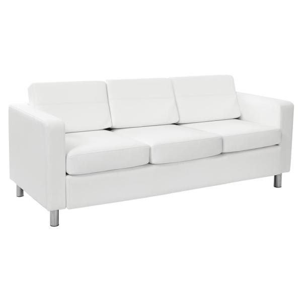 Osp Home Furnishings Pacific Dillon Snow Vinyl Sofa Couch With Box Spring Seats And Silver Color
