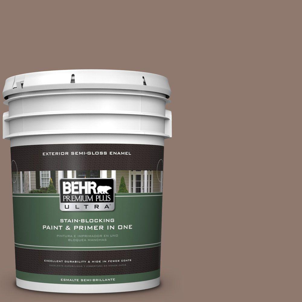 BEHR Premium Plus Ultra 5-gal. #N170-5 Chocolate Heart Semi-Gloss Enamel Exterior Paint