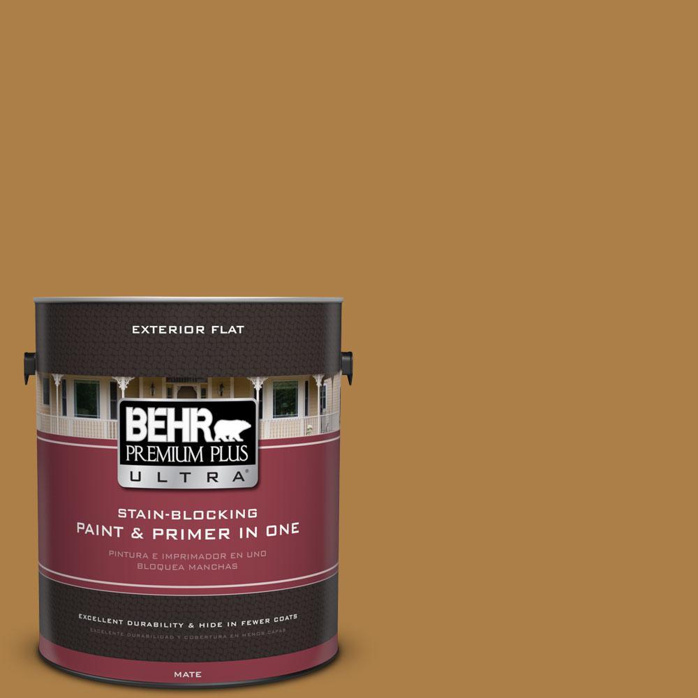 BEHR Premium Plus Ultra 1-gal. #M280-7 24 Karat Flat Exterior Paint