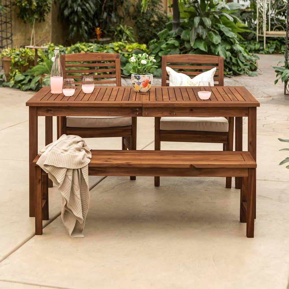 Dark Brown 4-Piece Wood Conversational Patio Set with Cream Cushions