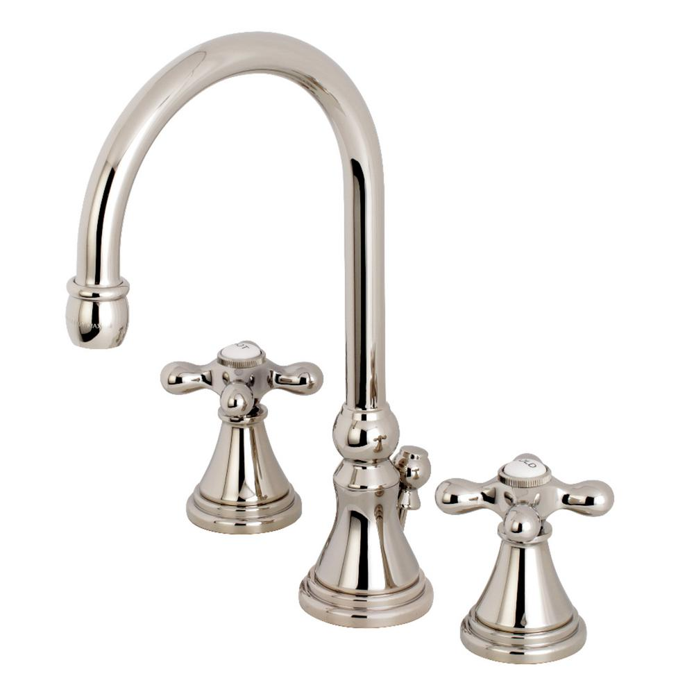 Kingston Brass Governor Cross 8 In. Widespread 2-Handle High-Arc Bathroom Faucet In Polished