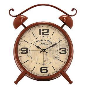 THREE HANDS 17.25 inch x 15.5 inch Metal Table Clock in Red by THREE HANDS