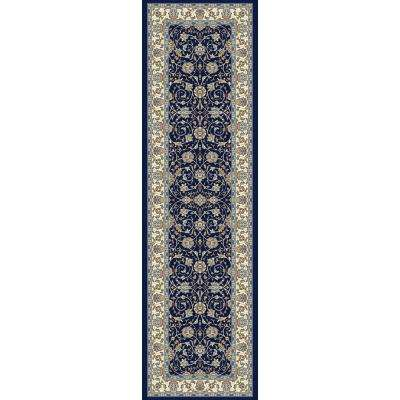 Ancient Garden Navy 2 ft. x 11 ft. Indoor Runner Rug