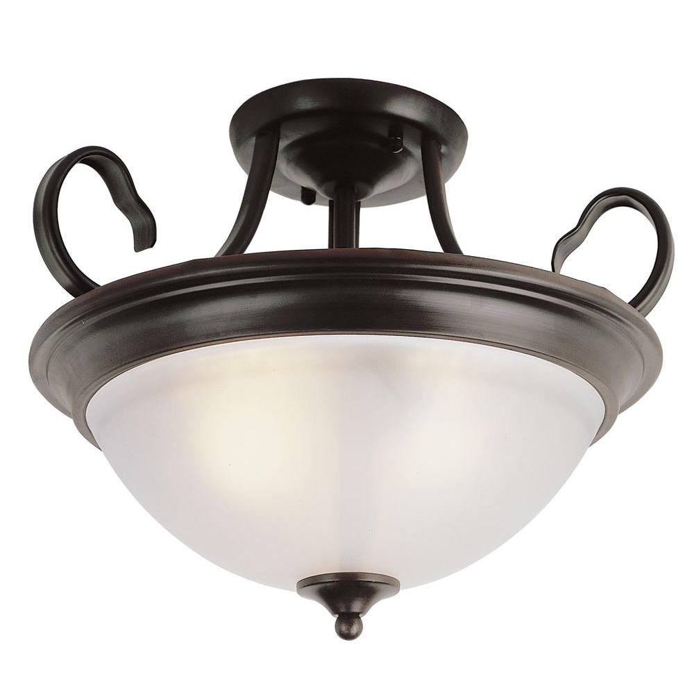 Bel Air Lighting Cabernet Collection 3-Light Oiled Bronze Semi-Flush Mount Light with White Frosted Shade