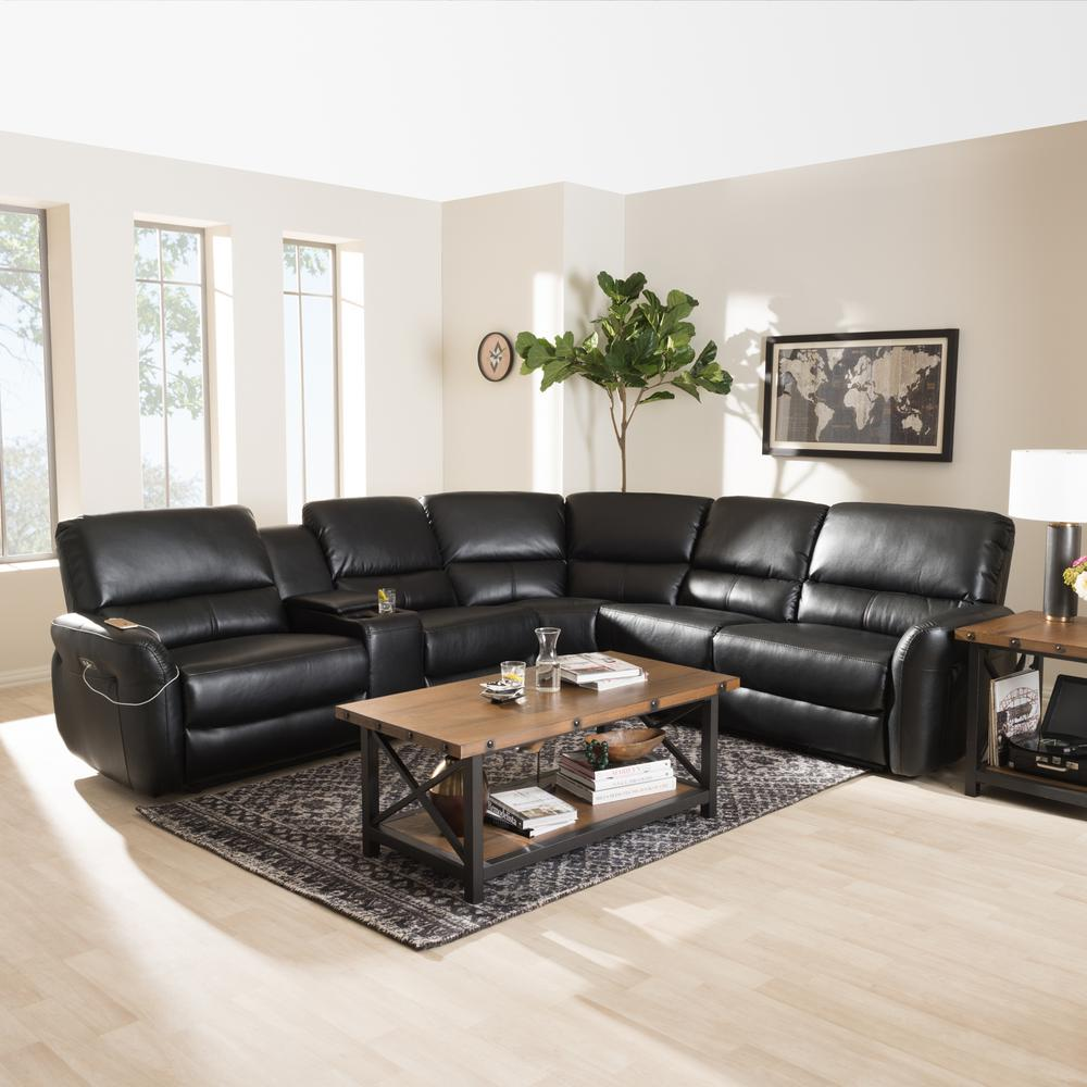 Baxton Studio Black Leather Reclining Sectional
