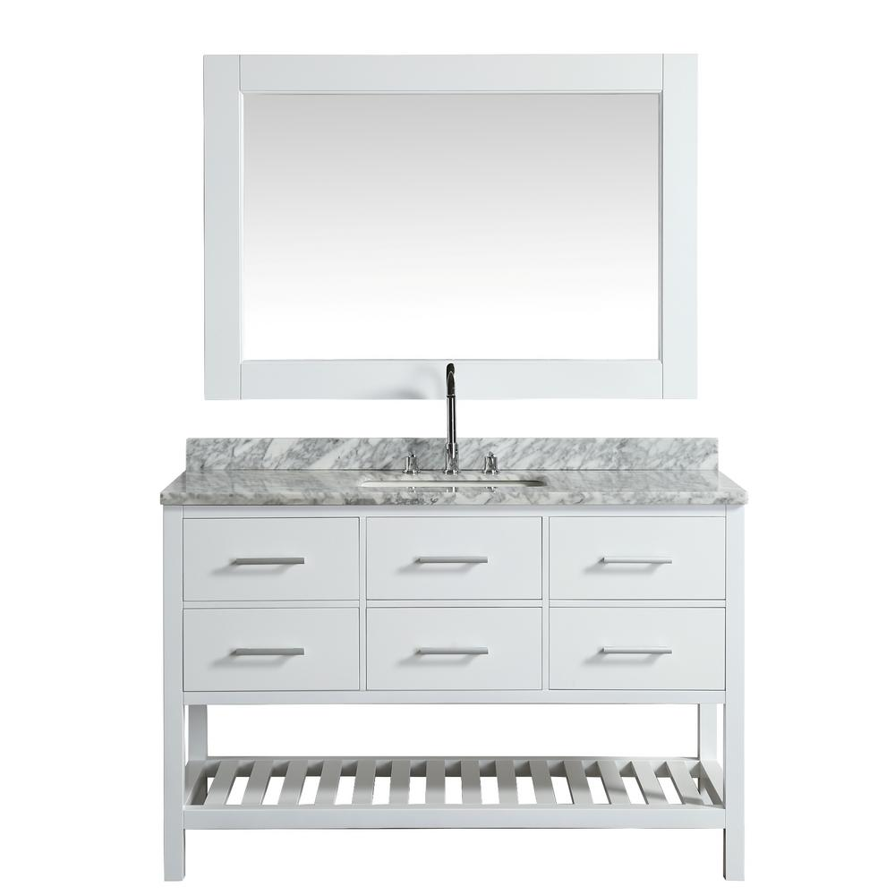 Design Element London 54 in. W x 22 in. D Vanity in White with Marble Vanity Top in Carrera White with White Basin and Mirror