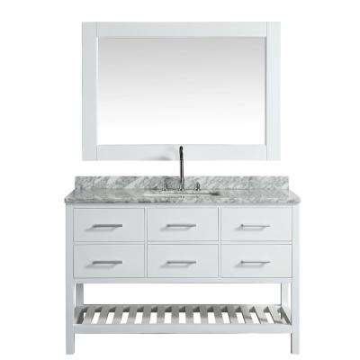 London 54 in. W x 22 in. D Vanity in White with Marble Vanity Top in Carrera White with White Basin and Mirror