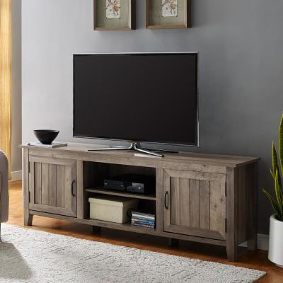 16 in. Gray Wash Composite TV Stand 82 in. with Doors