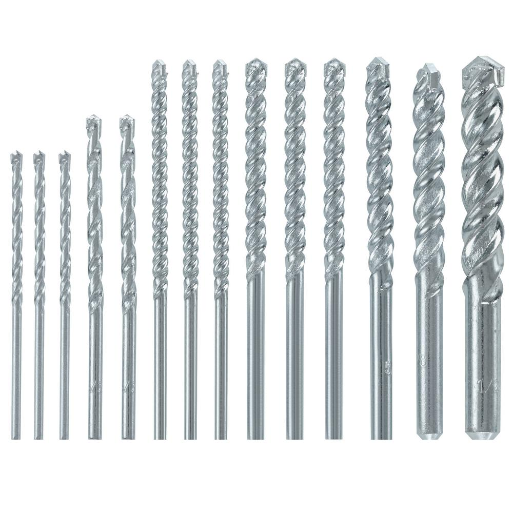 Bosch Fast Spiral Carbide-Tipped Masonry Rotary Drill Bit Set for Drilling in Brick and Block (14-Piece)