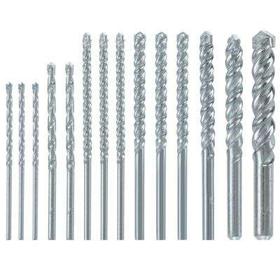 Fast Spiral Carbide Masonry Rotary Drill Bit Set for Drilling in Brick and Block (14-Piece)
