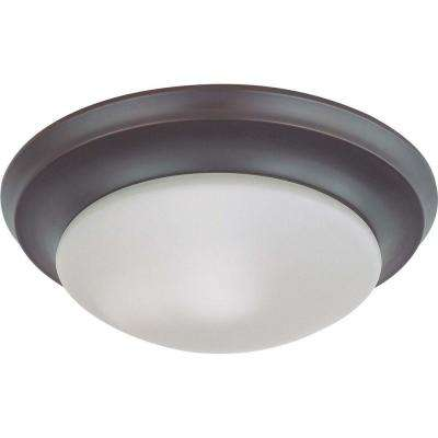 1-Light Mahogany Bronze Flush Mount Twist and Lock with Frosted White Glass