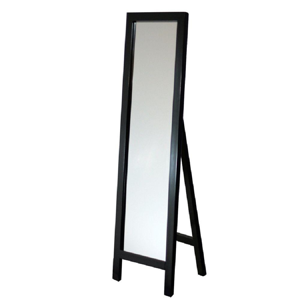Deco Mirror 18 in. x 64 in. Single Easel Floor Mirror in Espresso