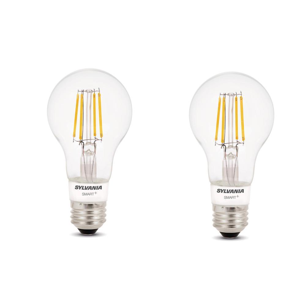 Sylvania SMART+ Bluetooth 40-Watt Equivalent A19 Dimmable Filament LED Light Bulb Soft White (2-Pack)