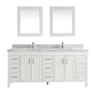 Dawlish 75 in. W x 22 in. D Vanity in White with Marble Vanity Top in Gray with White Basin and Mirror