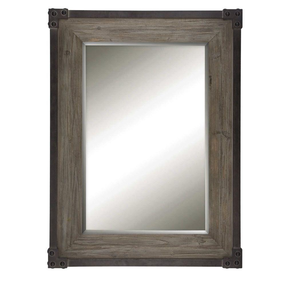 Home Decorators Collection Fadia 40 in. H x 30 in. W Rectangular Framed Wall Mirror in Woodtone