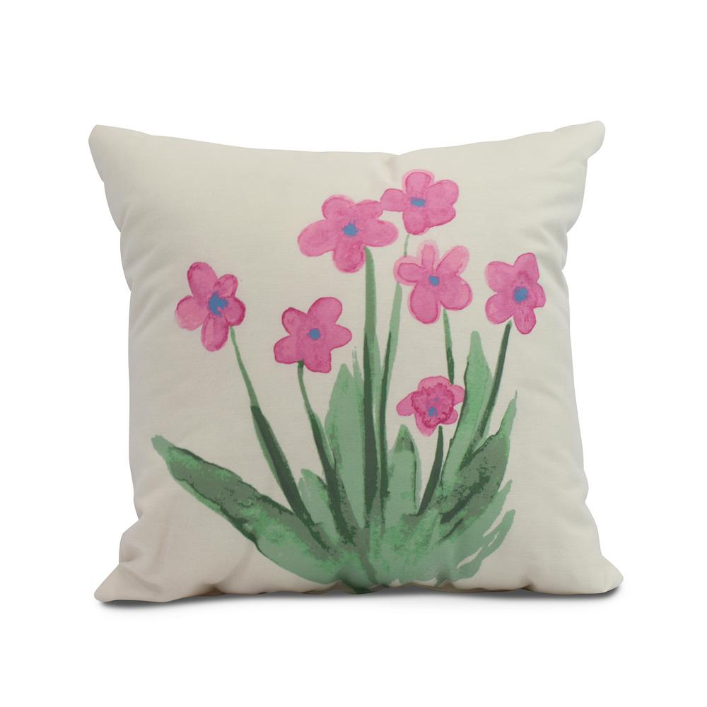 Pretty Little Flower 20 In Pink Decorative Floral Throw Pillow