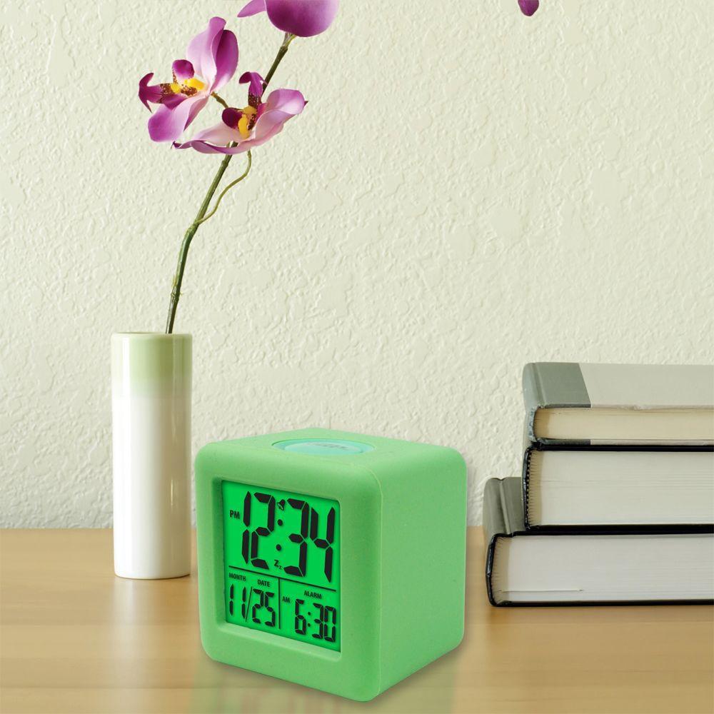 3-1/4 in. x 3-1/4 in. Soft Green Cube LCD Digital Alarm