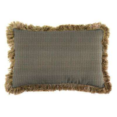 Sunbrella 19 in. x 12 in. Surge Charcoal Lumbar Outdoor Throw Pillow with Heather Beige Fringe