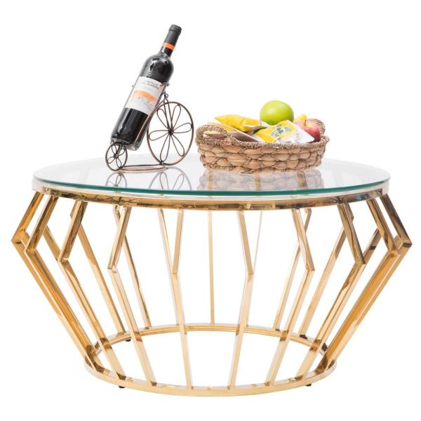 Bold Tones 32 In Gold Clear Medium Round Glass Coffee Table Qi003576 The Home Depot
