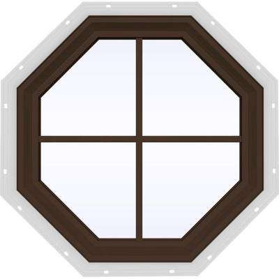 23.5 in. x 23.5 in. V-2500 Series Fixed Octagon Geometric Vinyl Window with Grids in Brown