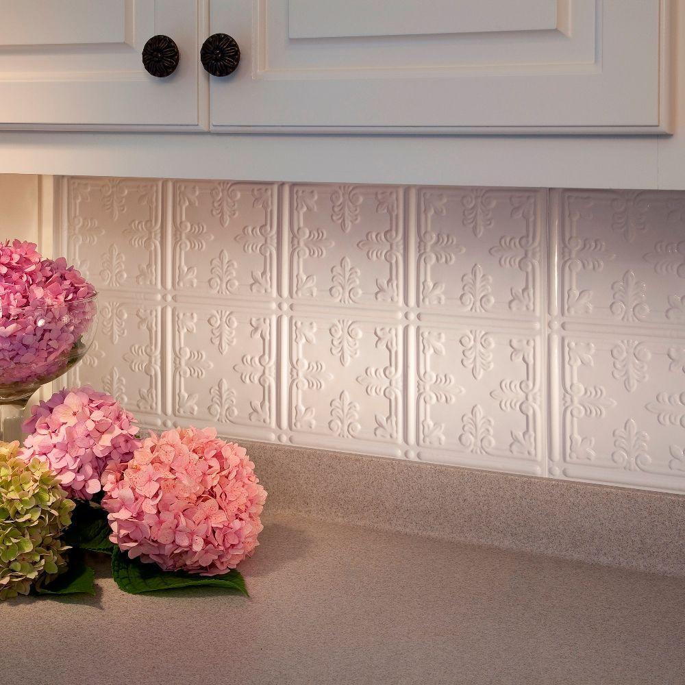 Fasade 24 in. x 18 in. Traditional 10 PVC Decorative Backsplash Panel in Gloss White