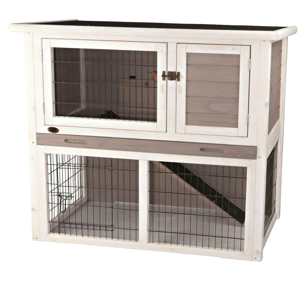 trixiepetproductsrabbithutchwithslopedroofgraywhite pet hayneedle with sloped products trixie product rabbit master white gray roof cfm hutch