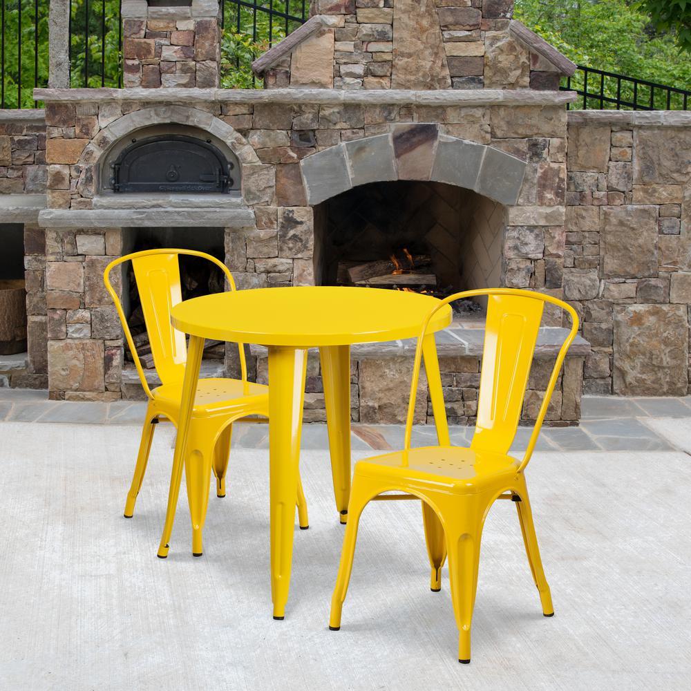 Yellow 3-Piece Metal Round Outdoor Bistro Set