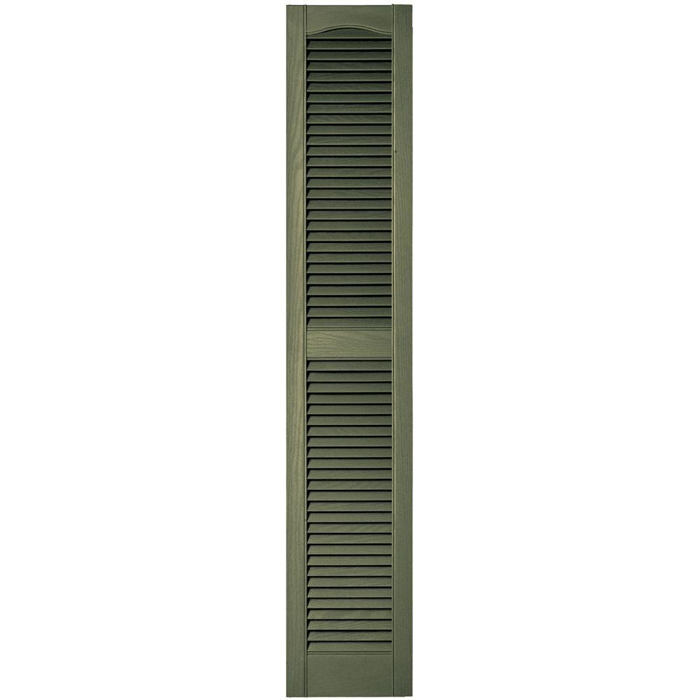 Builders Edge 12 in. x 64 in. Louvered Vinyl Exterior Shutters Pair in #282 Colonial Green