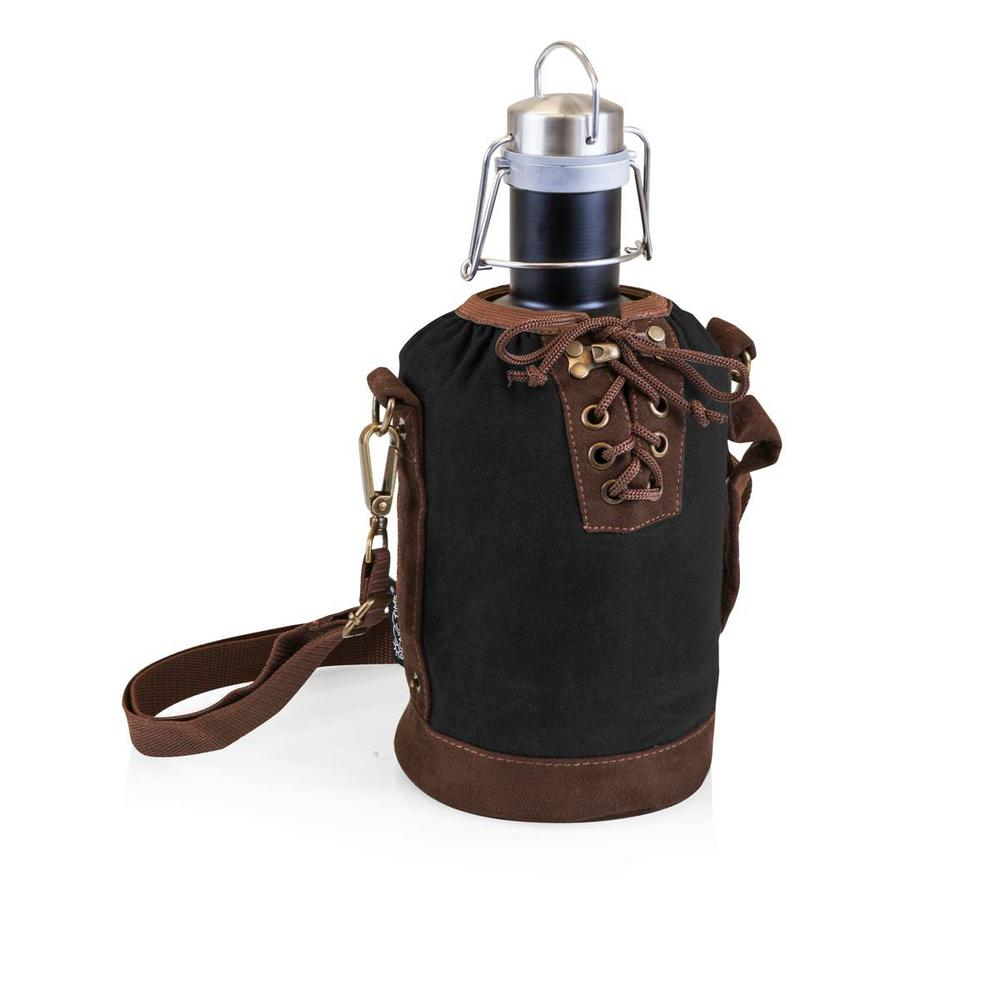 Black and Brown Insulated Growler Tote with Matte Black 64 oz.