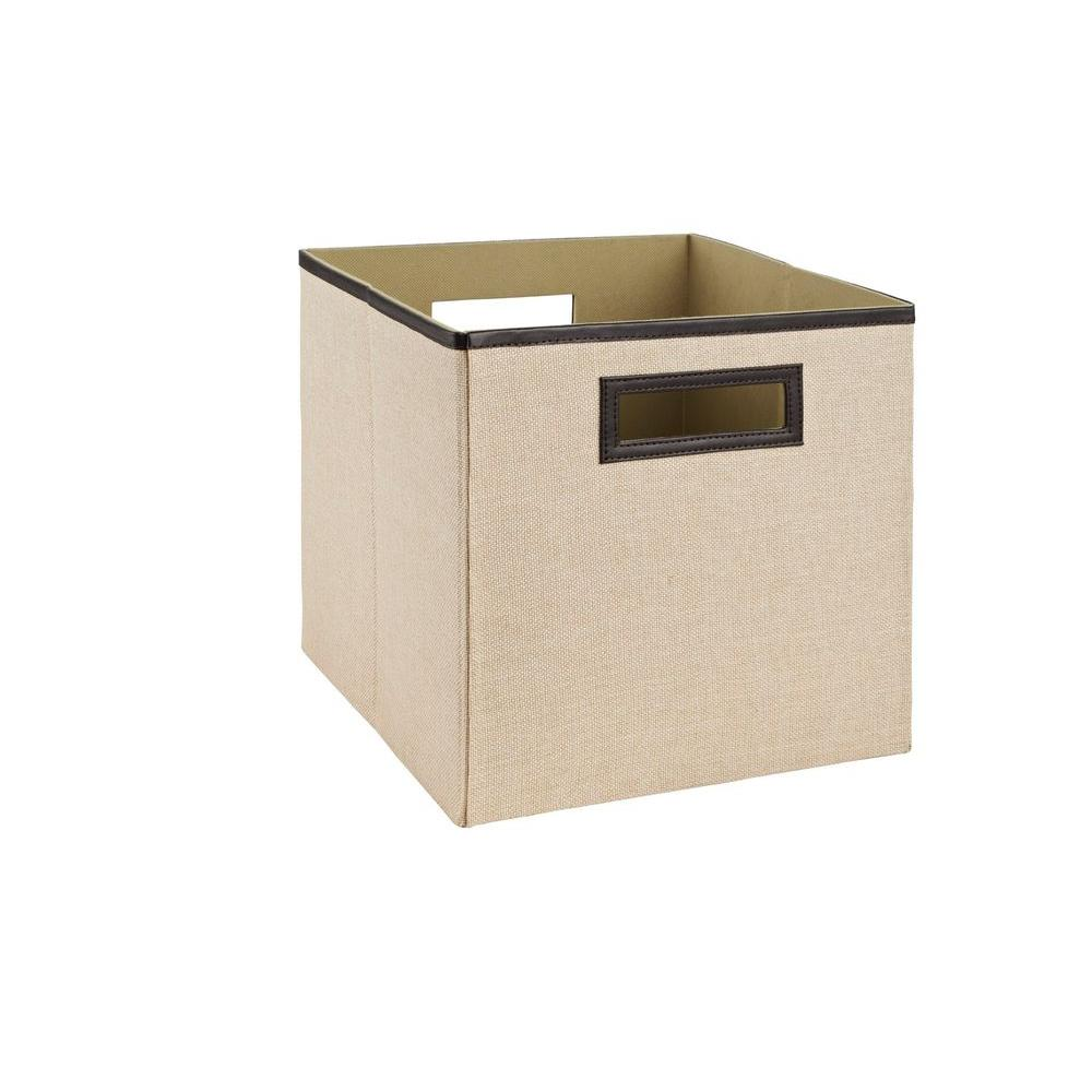 Home Decorators Collection 11 in. Khaki Fabric Bin