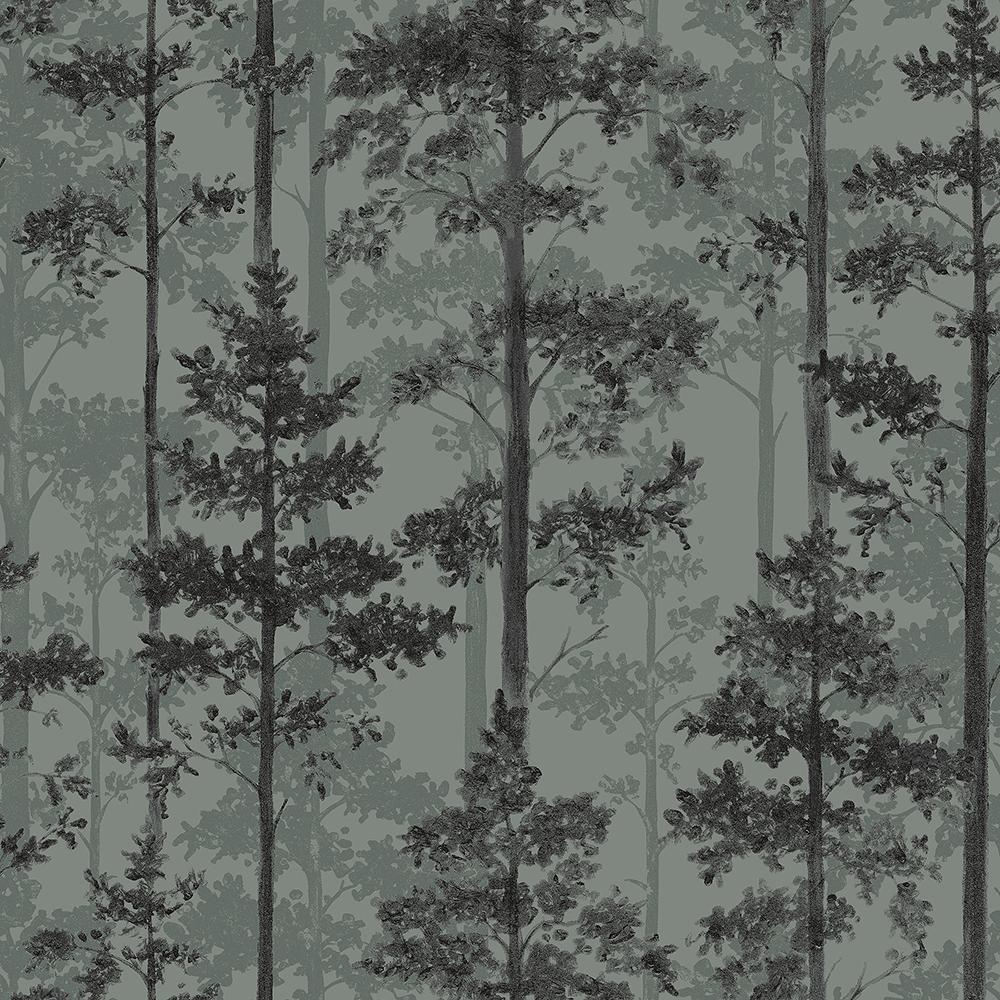 57.8 sq. ft. Pine Sage Silhouette Trees Wallpaper