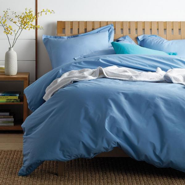 The Company Store Classic Porcelain Blue Percale King Duvet Cover DT30-K-PORBLUE
