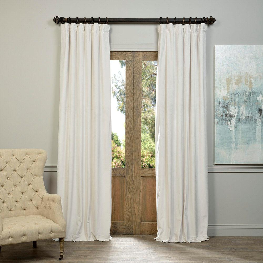 Exclusive Fabrics Furnishings Blackout Signature Off White Velvet Curtain 50 In W