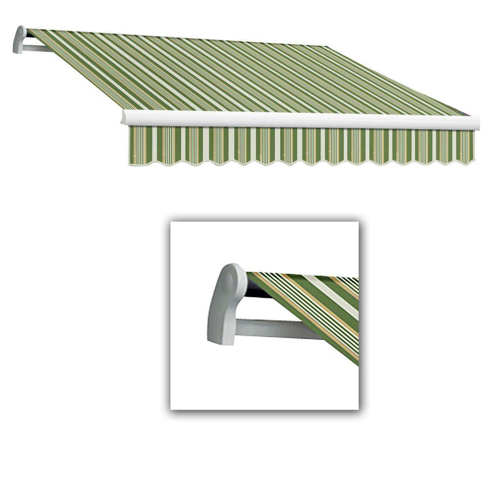 AWNTECH 8 ft. Maui-LX Left Motor Retractable Acrylic Awning with Remote (84 in. Projection) in Forest/Gray Multi