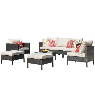 Brown 8-Piece Wicker Patio Conversation Sectional Seating Set with CushionGuard Beige Cushions