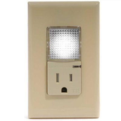GE 150-Watt (150W) LED Tamper Resistant Outlet/Nightlight-Ivory-DISCONTINUED