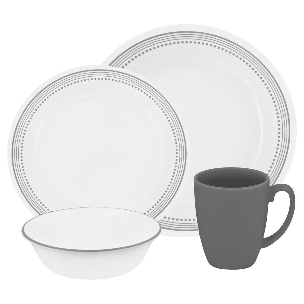 corelle classic 16 piece mystic gray dinnerware set 1119398 the rh homedepot com