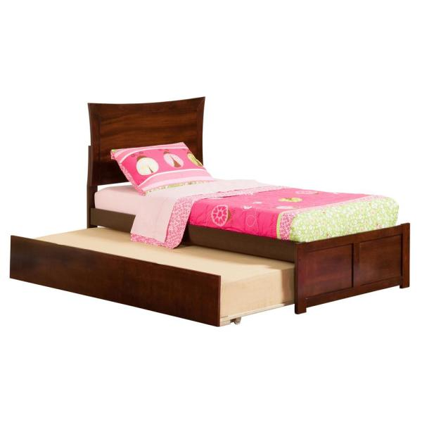 Atlantic Furniture Metro Walnut Twin Platform Bed with Flat Panel Foot