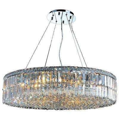 Cascade Collection 18-Light Polished Chrome and Crystal Chandelier