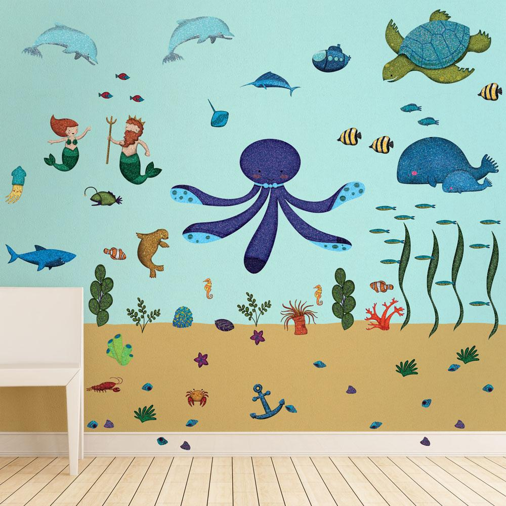 Under The Sea Peel And Stick Removable Blue Wall Decals Ocean Theme  (62 Piece Jumbo Set)