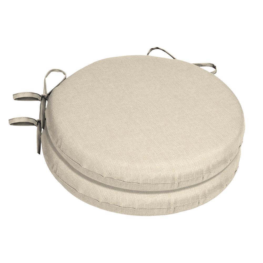 15 x 15 Sunbrella Canvas Flax Round Outdoor Chair Cushion (2-Pack)