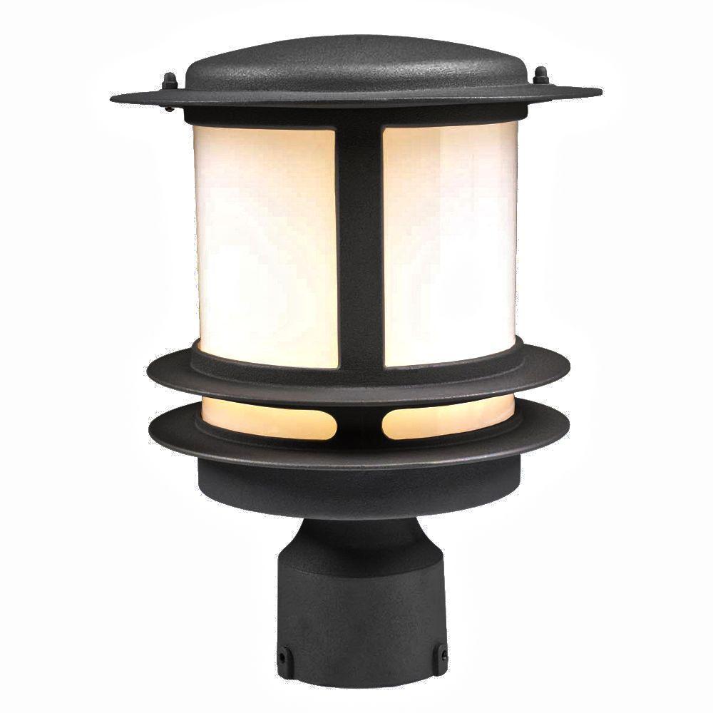 Outdoor Post Lights Home Depot: PLC Lighting 1-Light Outdoor Black Post Light With Opal